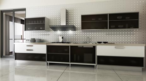 Eine küche mit einer dunstabzugshaube man unterscheidet bei dunstabzugshauben